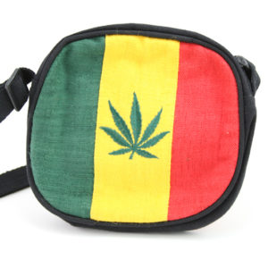 Sac Rond Broderie Feuille de Cannabis Rasta Sangle Réglable