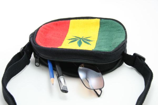 Sac Rond Broderie Feuille de Cannabis Rasta Sangle Réglable