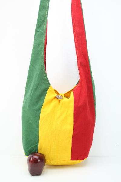 Sac Bohémien Hippie Vert Jaune Rouge Taille Standard