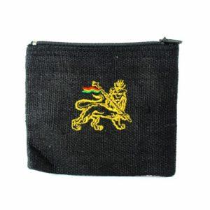 Mini Porte-monnaie 100% Chanvre avec Lion de Judah Brodé Or