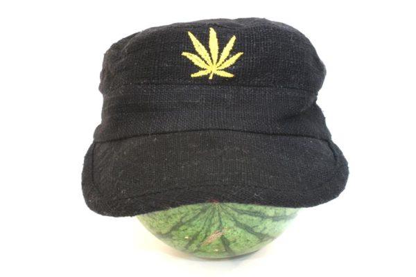 Casquette Noire Chanvre Style Armée Communiste Feuille de Cannabis Dorée