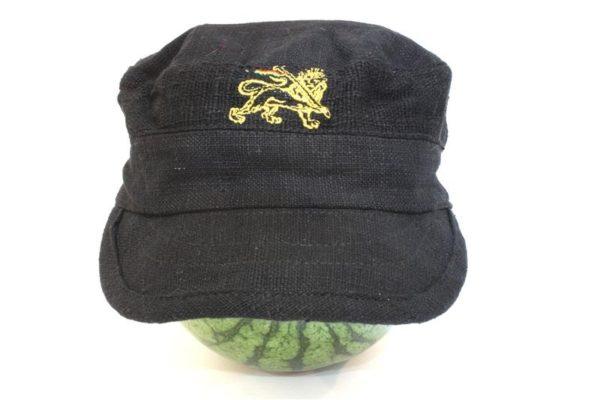 Casquette Noire en Tissus de Chanvre avec logo Lion de Juda Jaune