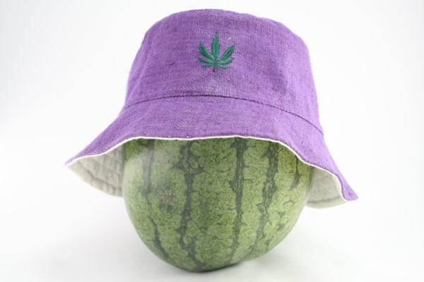 Chapeau Bob Mauve Feuille de Marijuana Discrète
