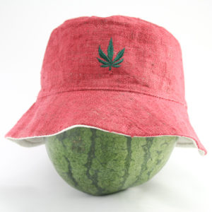 Chapeau Bob Rose Feuille de Marijuana Discrète
