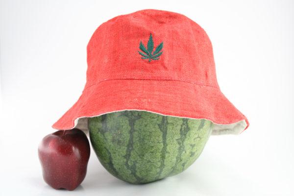 Chapeau Bob Rouge Feuille de Marijuana Discrète