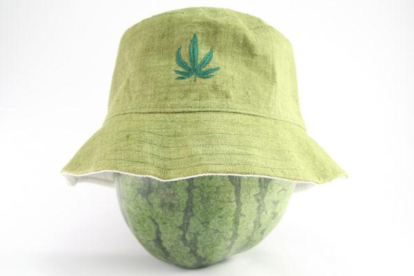 Chapeau Bob Vert Armée Feuille de Marijuana Discrète