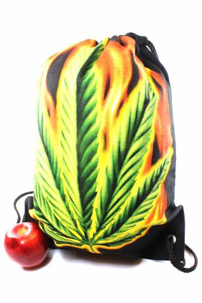 Sac à Dos Feuille Cannabis 3D Géante et Flammes Fermeture à Cordes
