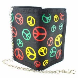 Portefeuille Velcro et Chaîne Logo Peace and Love Vert Jaune Rouge