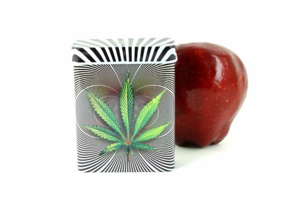 Boîte Métallique pour Cigarettes Feuille de Ganja et Spirales Psychédéliques