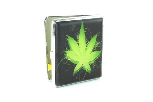 Boîte à Cigarette Personnalisée Logo Feuille de Cannabis