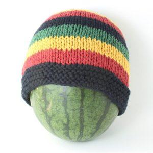 Bonnet Coton Noir et Bandes Rasta Vertes Jaunes et Rouges