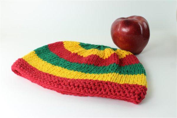 Bonnet Coton Rasta Bandes Horizontales Rouge Jaune Vert 23x18 cm
