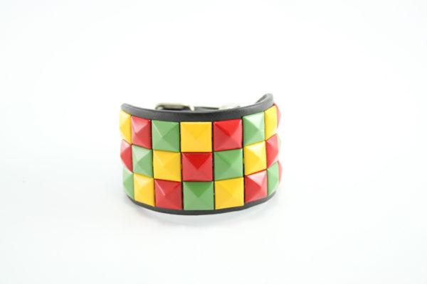 Bracelet de Force Rasta Damier Vert Jaune Rouge