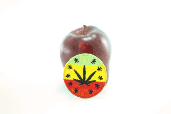 Ecusson Rond Brodé Feuille Marijuana