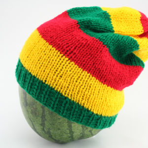Bonnet Long Rasta En Laine Cheveux Longs ou Courts Vert Or Rouge