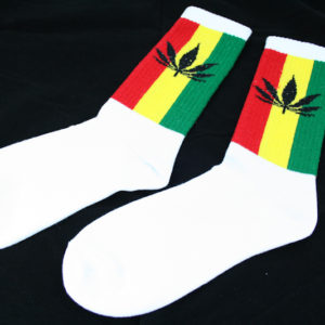 Chaussettes Sport Blanches Longues Feuille Cannabis