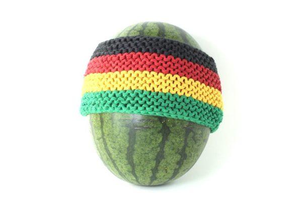 Large Bandeau Tricoté Main Coton Couleurs Rasta Jamaïque