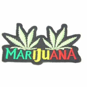 Écusson Thermocollant Brodé Deux Feuilles Cannabis et Mot Marijuana