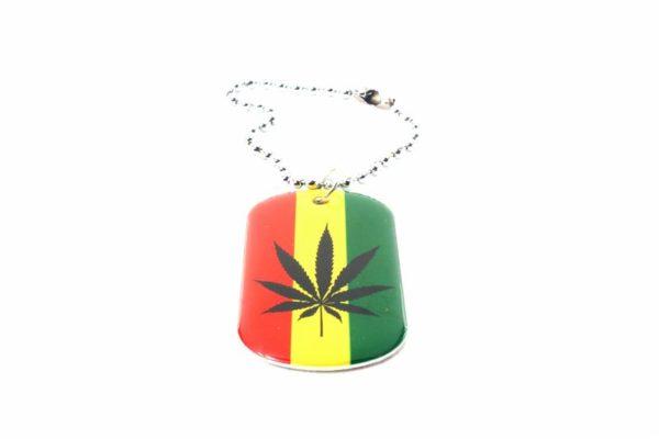 Porte-Clés Feuille Cannabis Couleurs Rasta Style Soldat Américain