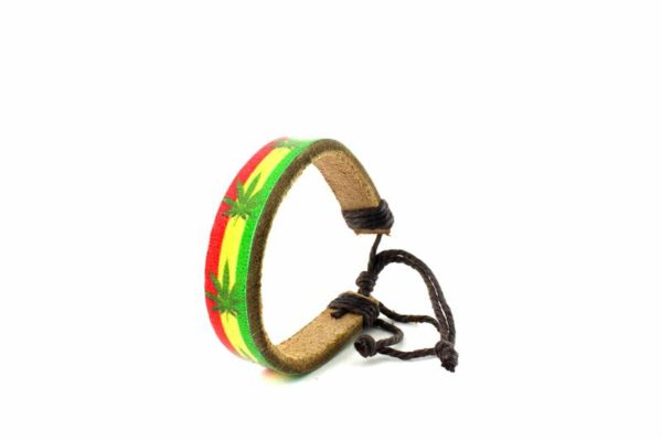 Bracelet Tribal Rastafari Reggae Feuille de Ganja Marijuana