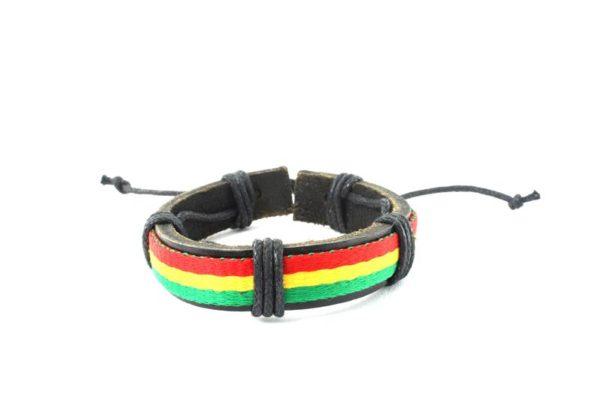 Bracelet Cuir Bandes Rasta Roots Reggae