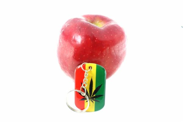 Porte-Clés Métallique Chromé Rasta Reggae Feuille Cannabis Noire et Verte