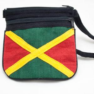 Mini Sac Sangle Bandoulière et fermeture Zip avec Drapeau Jamaïcain Cousu