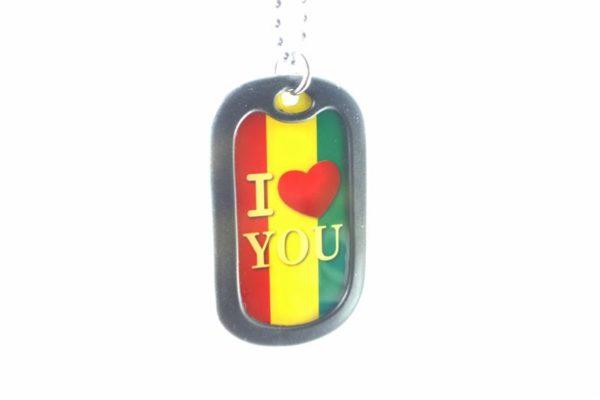 Collier Plaque Armée Métal I Love You aux Couleurs Rasta