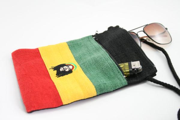Pochette Chanvre pour Passeport et Papiers Identité Motif Rasta Bob Marley