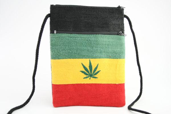 Pochette Étui Papiers Identité Passeport Feuille de Cannabis Couleurs Rasta