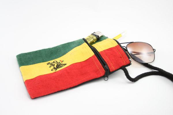 Pochette Lion Rasta Drapeau Éthiopie Double Zip avec Sangle Bandoulière