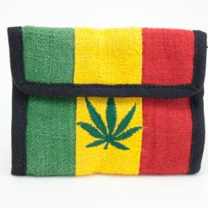 Portefeuille Velcro 100% Chanvre Couleurs Rasta avec une Feuille de Cannabis Bro