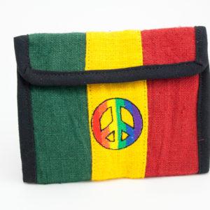Portefeuille Chanvre Couleurs Rasta Logo Peace and Love Arc en Ciel