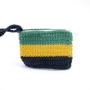 Petit Porte-Monnaie Tricoté au Crochet en Coton Couleur de la Jamaïque
