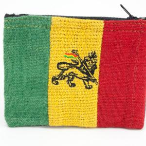 Petit Porte-Monnaie Chanvre Rasta Lion de Judah avec zip