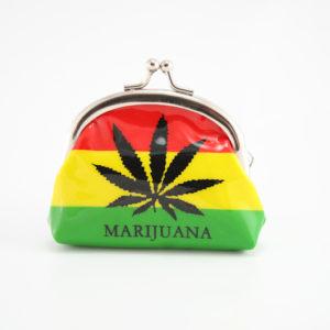 Porte-Monnaie Cannabis Retro Revisité Rasta Vert Jaune Rouge PVC