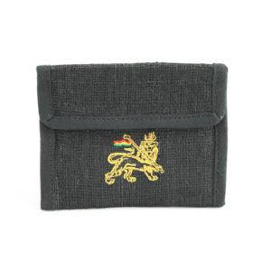 Portefeuille Zip Noir Lion 13x10 cm Vue Extérieure