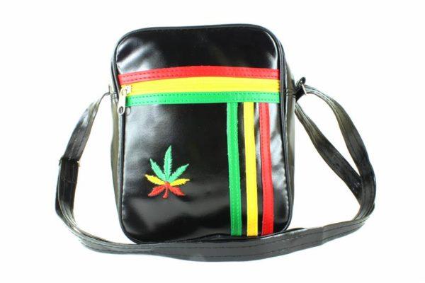 Sac Rasta Bandoulière Trois Bandes Sky Noir Feuille Cannabis Vert Jaune Rouge
