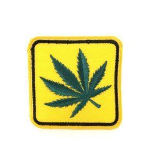 Écusson Feuille Cannabis Panneau Signalisation Routière Jaune