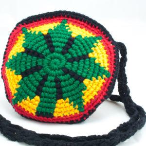 Mini Sac Rasta Tricoté au Crochet Main Feuille de Cannabis