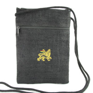 Etui Passeport Zip Chanvre Noir Lion de Juda Or