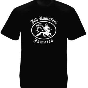 T-shirt  Noir Lion Jah Rastafari Sérigraphie Blanche