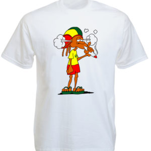 T-Shirt Blanc Rasta Baba Cool Fumeur de Joint d'Herbe Cannabis