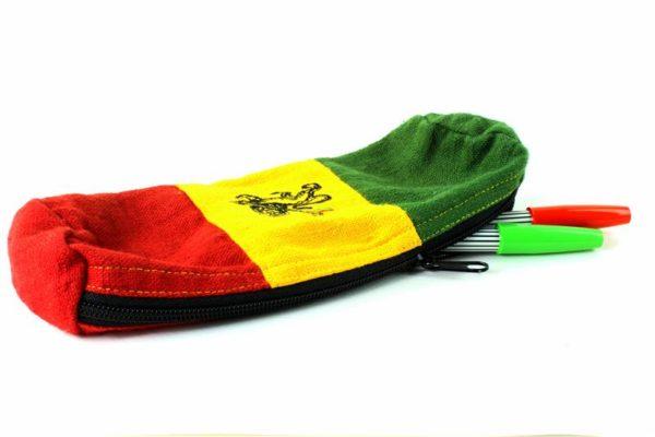 Trousse Chanvre Couleurs Vert Jaune Rouge Lion de Judah Fermeture Éclair