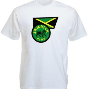 T-Shirt Blanc Vrai Drapeau Jamaïcain et Lion de Judah Jamaica King