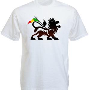T-Shirt Blanc Lion de Juda et Drapeau Rasta Logo Stylisé