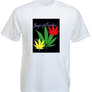 T-Shirt Blanc Reggae Songs of Freedom Feuille de Weed Ganja Rasta