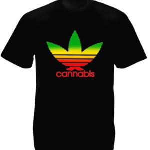 T-Shirt Noir Parodie Adidas Feuille de Cannabis Rasta