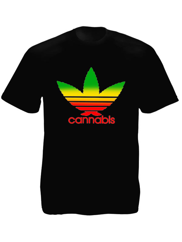 tee shirt noir parodie adidas feuille de cannabis rasta rasta. Black Bedroom Furniture Sets. Home Design Ideas
