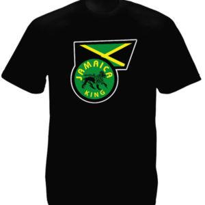 T-Shirt Noir Manches Courtes Drapeau de la Jamaïque Frappé du Lion de Juda